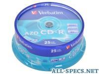 Verbatim CD-R 700Mb 52x DL Crystal AZO 25шт Cake Box 580268